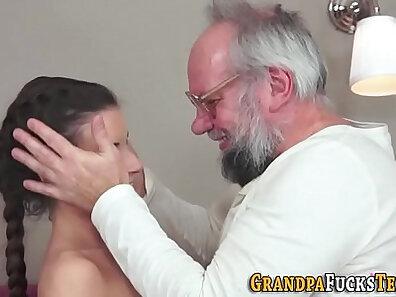 Busty slut sucks grandpa