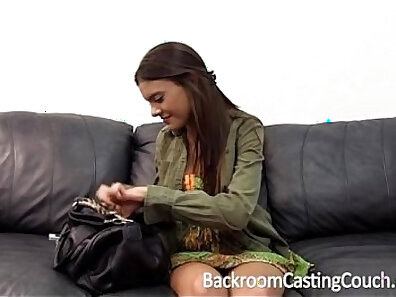 Busty teen gets creampie after sex on casting