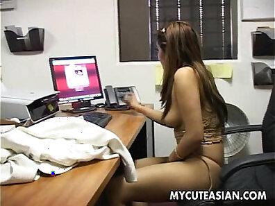 Cop titfucks asian slut in leather mask