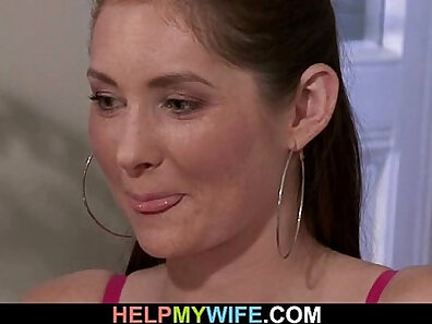 Cuckold watching wife wash baldy while husband is gone