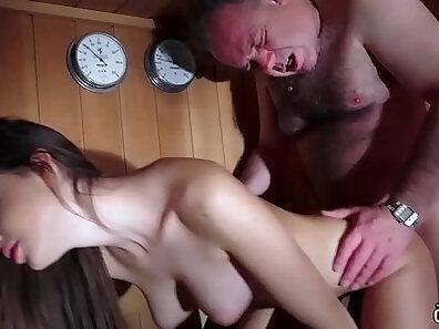Young girl wearing panties gives blowjob and swallows cumshot