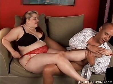 Chubby blonde GF trys to suck a dick before giving stockings