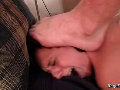 Two brutal fuckers pound her moans and throat