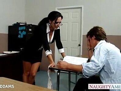 Busty Ava Addams is sucked by teacher