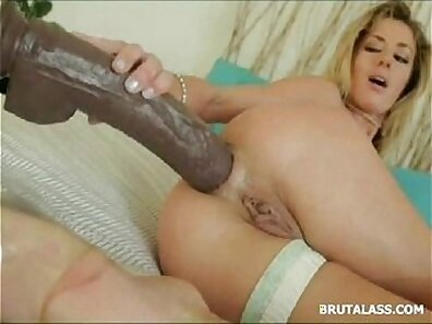 Blonde slut brutally face fuck and gets ass slapped by big toy