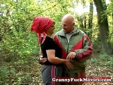 Curvy teddy granny enjoys outdoor sex