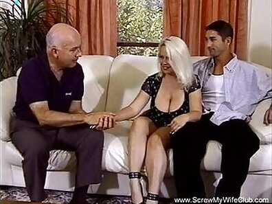 Chubby Blonde housewife teases her man