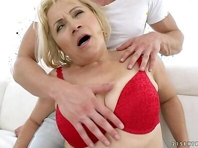 Metro Blonde Granny Thumbing To Anal Pleasure scene