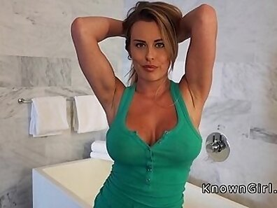 Busty cutie amateur in bathroom in red pantyhose getting wet to the point