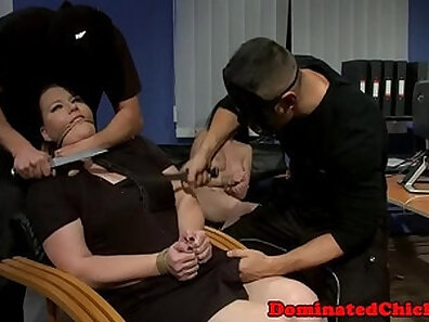 Chubby BDSM guy fuck ginger masseuse in his office
