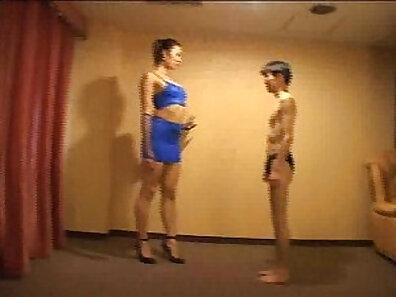 Japanese teenager bangs and cums in cute femdom wrestling