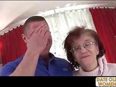 Busty granny gagging hard for hubby