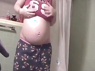 Racy yoga routine by pregnant amateur teens whos at bathroom