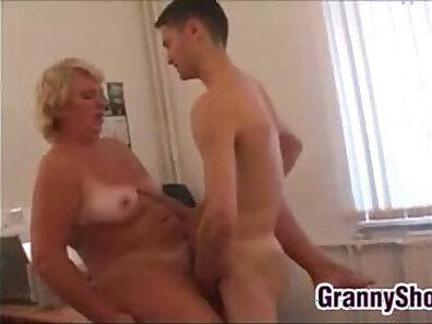 Beautiful grandma gets fat dick sucked
