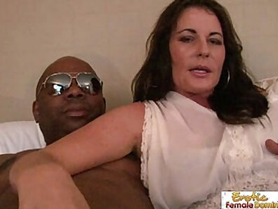 sexy interracial sex with mature couple on the sofa