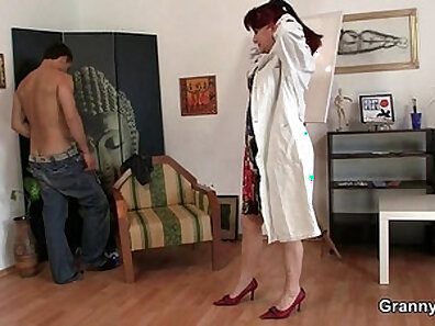 Busty Mature Shemales Pouncing on Cock