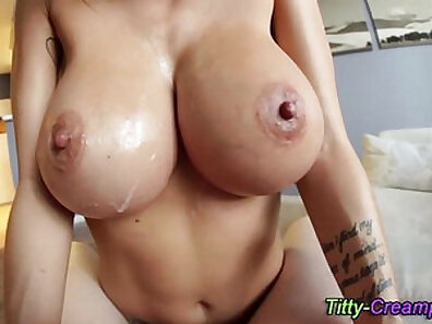 Busty licks herself and gets finished with cum